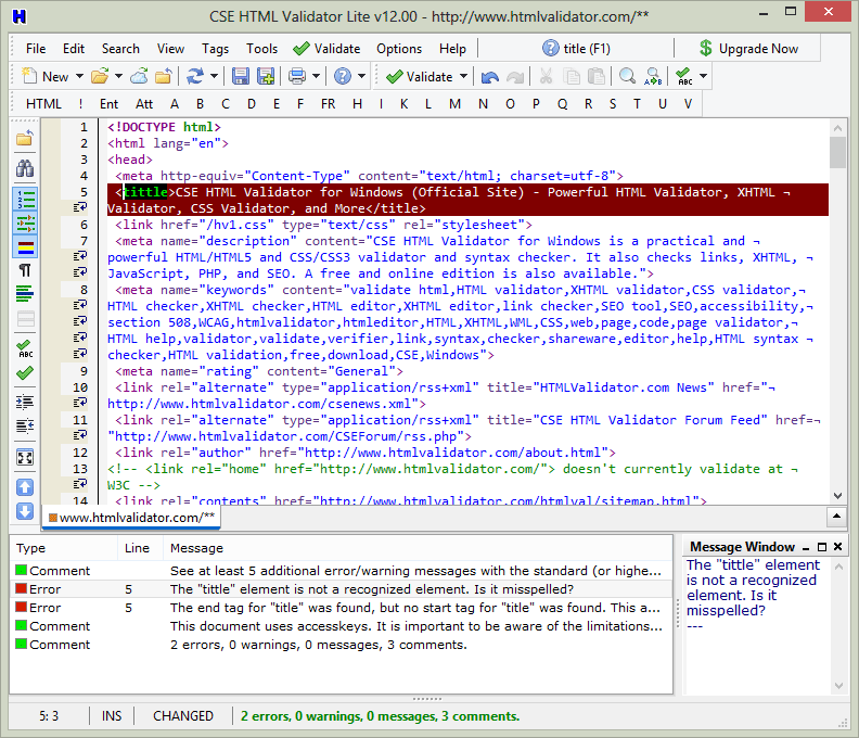 FREE fast offline HTML editor and syntax checker