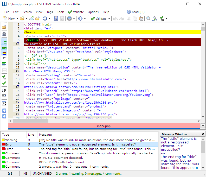CSE HTML Validator Lite Screen shot